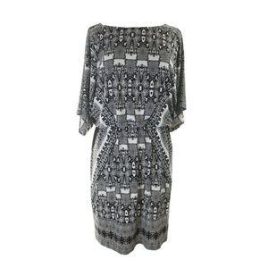 Alfani Black Ikat-Print Blouson Dress 10